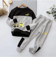 Wholesale Hong Children All match Casual Suits High Quality Pure Cotton Boy Loose Hoodie Long Pants Sets Autumn Kids Clothing Design