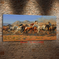 ingrosso pittura a olio di cavalli d'arte-Wild Horses Western, Canvas Painting Living Room Home Decor Moderna pittura a olio di arte murale