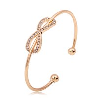 Wholesale white gold infinity ring - Trendy Rhinestone Infinity Charm Bracelet Bangle for women Fashion Smooth Hand Ring Rose Gold Silver Plated Cuff Bangle bead charms jewelry