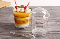 Wholesale pudding ice cream - 50Set Ransparent Plastic Mousse CakeCup Ice Cream Cup Jelly Cup With Cover and Spoon Pudding Dessert Sets