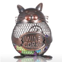 Wholesale Cat Kitten Wine Cork Container Animal Ornament Iron Box Art Practical Crafts Favor Gift Home Decoration