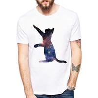 c5c60f06 Space Galaxy Cats Printing T Shirt Men 2018 Short Sleeve Men Clothing  Casual Tops Tees Dropship