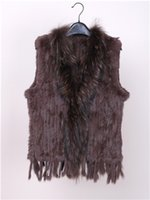 Wholesale knitted rabbit vest for sale - Pudi VR032 Women Genuine Knitted Rabbit Fur Vests with tassels Raccoon Fur Trimming Waistcoat drop shipping colors