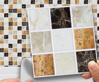 mermer döşeme toptan satış-3D Mermer Mozaik PVC Duvar Sticker Su Geçirmez Kendinden Yapışkanlı Vinil Banyo Mutfak Ev Dekor DIY Kiremit Sticker