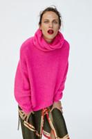 moda neon şeker toptan satış-Sonbahar Yeni avrupa tasarım kadın moda balıkçı yaka sıcak kalınlaşma uzun kollu şeker neon renk gevşek artı boyutu kazak kazak jumper