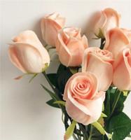 ingrosso nozze delle rose blu-Display Fiore Tocco reale Rose Simulato Fiore finto Nero Rosa Blu Rosso Rosa Rose PU per Festa nuziale Fiore artificiale 12 colori