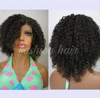 unbehandeltes menschliches haar großhandel-Kurze Menschenhaar-Perücken lockiges Jungfrau-Peruaner Remy-Haar-volle Spitze-Perücke Verworrene lockige Perücke Unprocess-Haar-Spitze-Front-Perücke