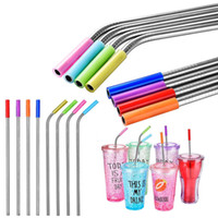 Wholesale cocktail covers resale online - Silicone Tips Cover Food Grade Cover for mm Stainless Steel Straws Soft Comfort Tips Cover Drinking Straws caps GGA796