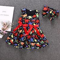 siyah tül şeridi toptan satış-Bebek Çocuk Kız Siyah Prenses Tutu Elbise Dinozor Hayvan Vestidos Tül Kırmızı Ilmek Şerit Kolsuz Elbiseler Yaz Sundress Butik 1-6Y