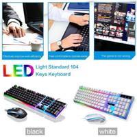 ingrosso tastiera di gioco illuminata-Nuova tastiera G21 Mouse da gioco con cavo USB flessibile Luci LED policromatiche flessibili Tastiera retroilluminata con tecnologia meccanica