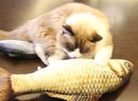 almohada de muñeca de gato al por mayor-2018 Venta Caliente Divertido Forma de Pescado Realista Mascota Gato Gatito Teaser Lindo Simulación de Peces Jugando Juguete Catnip Juguete Almohada Muñeca