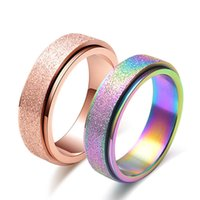 Wholesale ethiopian jewelry - Golden rainbow rotating retro men's women's frosted rings Wholesale Couples Middle East India Ethiopian ring jewelry drop ship 080287