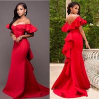 Wholesale design chocolates resale online - 2018 Unique Design Red Evening Dresses Off Shoulder Pleats Mermaid Sweep Train Arabic Prom Party Red Carpet Gowns Vestidos Cheap Customized