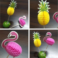 Wholesale cake cocktails - New style stereoscopic pineapple flaming Fruit toothpick flower sign Cocktail cake decorations toothpick party supplies T3I0433