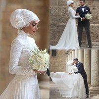 Wholesale Islamic T Shirts - 2018 High Neck Wedding Dresses Bridal Gowns Lace Long robe de mariage Long Sleeves Muslim Bridal Gowns Islamic Arabic Wedding Dresses