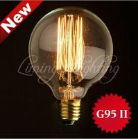 Wholesale Large Bulb Pendant Light - 1900 Antique Vintage DIY Edison G95 II Light Bulb Radiolight Large Squirrel Cage Tungsten 40W 220V 110v Pendant Lamp Lighting