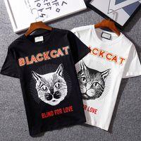 Wholesale Cat Street - Top quality Summer Cotton T-Shirts tee cat head print streets Luxury black white 615