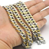 Wholesale Stainless Jewellry - NIENDO 60cm Long 10mm Width Chain Necklace 316L Stainless Steel 2 Tone Gifts men jewellry cuban link chain male Man LN122
