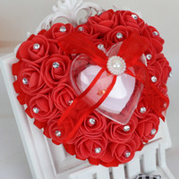 Wholesale cushions for rings online - Heart Shape Ring Pillow Cushion With Rose Flowers Bowknot Ribbons Rhinetone Pearls Gift Ring Box For decoration Bridal Wedding Party Favor