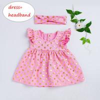 Wholesale kids beach outfits for sale - Group buy Girls Gold Polka Dot Dress Set Kids Ruffles Dress Headband Outfit Kids Girls Sleeveless Clothes T