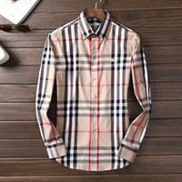Wholesale slim fit shirt check men - Brand Men's Business Casual shirt mens long sleeve striped slim fit camisa masculina social male T-shirts new fashion man checked shirt13.