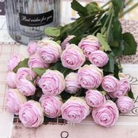 ingrosso pezzi decorativi casa-Simulazione di rose staminali monocromatiche (3 teste / pezzo) Simulazione Melaleuca Rose per matrimoni Home Showcase Fiori artificiali decorativi
