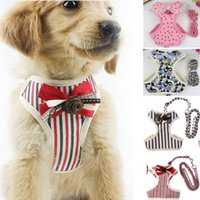 Wholesale camo dog collars online - Mesh Dog Leashes With Vest Reflective Bow Tie Cat Pet Leash Harness Suit Chest Collar Accessores Supplies HH7