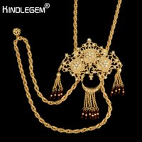 grande colar de bijuterias de ouro venda por atacado-Designer exclusivo colar broche conjunto para as mulheres de luxo dubai bijuterias africano big borlas contas pingente de cadeia de cor de ouro