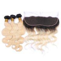 sarışın brazilian dalga saç paketleri toptan satış-İki Ton Ile 1B 613 Ombre Dalga Bakire Saç Demetleri Dantel Frontal Kapatma Koyu Kökleri Sarışın Brezilyalı İnsan Saç Dantel Frontal Ile Örgüleri
