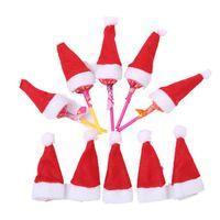 bonés para enfeites de natal venda por atacado-Mini natal papai noel chapéu pirulito chapéu de casamento doces presente tampas de decoração da árvore de natal w4 * h7cm enfeite de natal decoração kka6021