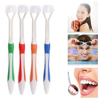 Wholesale dental brushes - Adult Creative 3 Sided Silicone Safety Teeth Brush Oral Health Cleaner Dental Clean Toothbrush Nano Brush Oral Hygiene CCA10022 300pcs