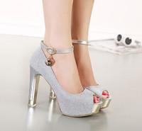 tayvan elmas toptan satış-Yeni stil sıcak satmak gümüş elmas balık ağzı tokaları tayvan yüksek topuk sandalet akşam parti gelin düğün ayakkabı shuoshuo6588