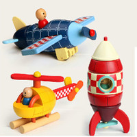 Wholesale childhood memories - New arrival Kids toy childhood memory Janod Magnetic Stacking Toys Plane   Helicopter   Rocket by free shipping OTH877