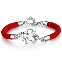 Wholesale indian girl halloween costumes - New Arrivals Cute Lovely Dog Red Rope Charm Bracelet Fashion Party Costume Jewelry for Women Girls Pulseras Pulseira Armband