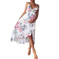 anneler hamile elbiseler toptan satış-2018 Summmer Annelik elbise Moda Gebelik Giyim Anne Giysileri V Yaka Kolsuz Çiçek Falbala Hamile Kadınlar Elbise