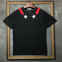 Wholesale mens red star t shirt - 2018 the newest Luxury brand mens Embroidered white pentagram print t shirts star print cotton t shirt casual Designer tshirt tee tops