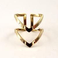 anillo doble simple al por mayor-50PCS Bohemian Double Lines V Anillos de Chevron para mujeres Regalo de Navidad Geométrico simple Bague Anillos delicados Joyería de boda Femme R248