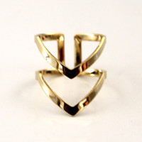 Wholesale women s wedding rings online - 50PCS New Fashion Boho Double Lines V Chevron Rings For Women S Gift Simple Geometric Bague Dainty Rings Femme Wedding Jewelry R248