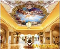 3d wand decke wandbilder tapete großhandel-Großhandels-Benutzerdefinierte 3d wallpaper für wände 3d decke tapetenwandbilder HD Europäischen decke mural charakter engel mural Zenith deckenwand