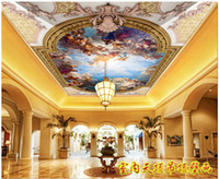 papel de parede rosa glitter para paredes venda por atacado-papel de parede 3d Atacado-Custom para paredes 3d murais teto papel de parede HD Europeia teto mural de caráter anjo mural Zenith teto murais
