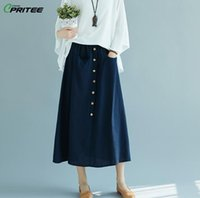 Wholesale gothic long skirts women - Large Big Size Cotton Long Skirt Flax Faldas Mujer Casual Women Skirts Jupe Femme Faldas Mujer Moda 2018 Saia Longa Gothic