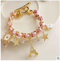 eiffel tower kristal bilezik toptan satış-Büyüleyici Altın Yıldız Kristal Eyfel Kulesi Poker Çiçek Bileklik Cuff Bilezik Kadınlar Charm Bilezik