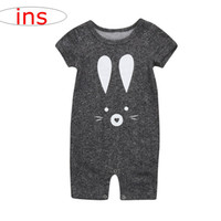 Wholesale girls leopard print jumpsuit - ins new Summer cartoon cat print Romper Jumpsuits Newborn Baby Girls solid gray Romper Jumpsuit 0-2years new fahsion free ship