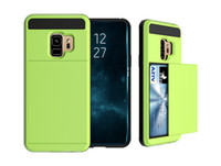 Wholesale Wholesale Soft Slide - Dual Layer Armor Hard PC TPU Soft Back Phone Case with Slide Card for Samsung S8 S8 plus Note 8 S9 S9 plus iphone 8 8plus x