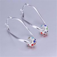 Wholesale cz hoops - Fashion 925 Sterling Silver CZ Solid Earring for Women XMAS 2018 New Crystal Fine 925 Silver Round Hoop Dangle Earring Stud Link Italy