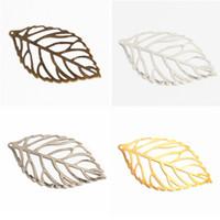 diy filigrane schmuck großhandel-Pick-50Pcs Farbe Blätter Filigree Wraps Connectors Metal Crafts-Verbindungsstück für Schmucksachen, die DIY-Charme-Anhänger