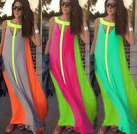 Wholesale cheap solid color dresses - Fashion New Bright Color Patchwork Casual Dresses Sleeveless Sundress Loose Long Dress Cheap Women Summer Boho Maxi Dresses