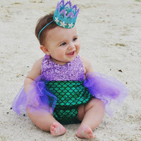 Wholesale baby girl little mermaid costume resale online - Little Mermaid Bodysuit Baby Girls Sequins Bikini Suit Swimwear Swimsuit Bathing Costume CLothing
