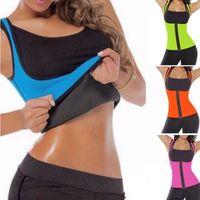 Wholesale Hot Body Workouts - New Neoprene Sweat Sauna Hot Body Shaper Fat Burner Top Workout Vest Waist Trainer Control Tummy Weight Loss Zipper Shapewear