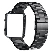 Wholesale hook frame - V-MORO Stailess Steel Watch Band With Metal Frame House 2 in 1 Replacement Strap for Fitbit Blaze Smart Fitness